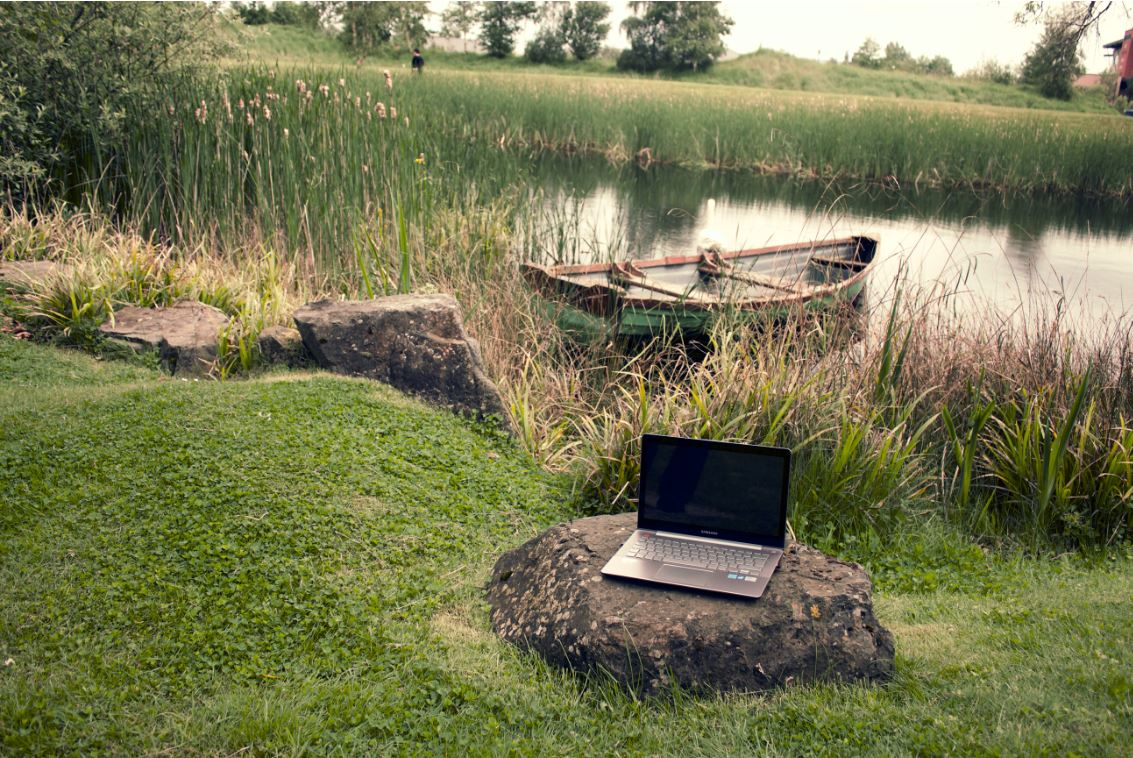 boat and laptop